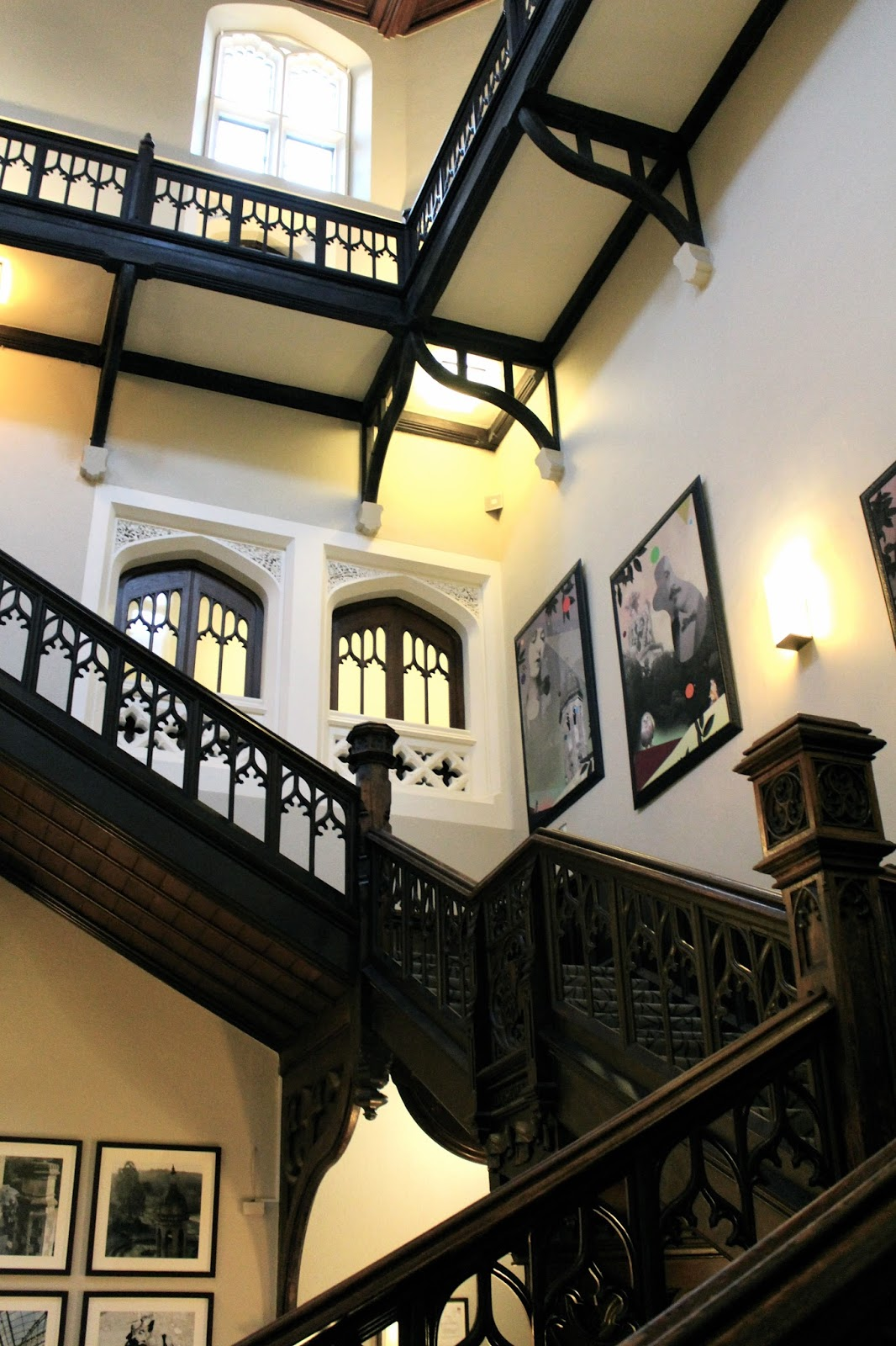 Grand staircase at Tortworth Court hotel