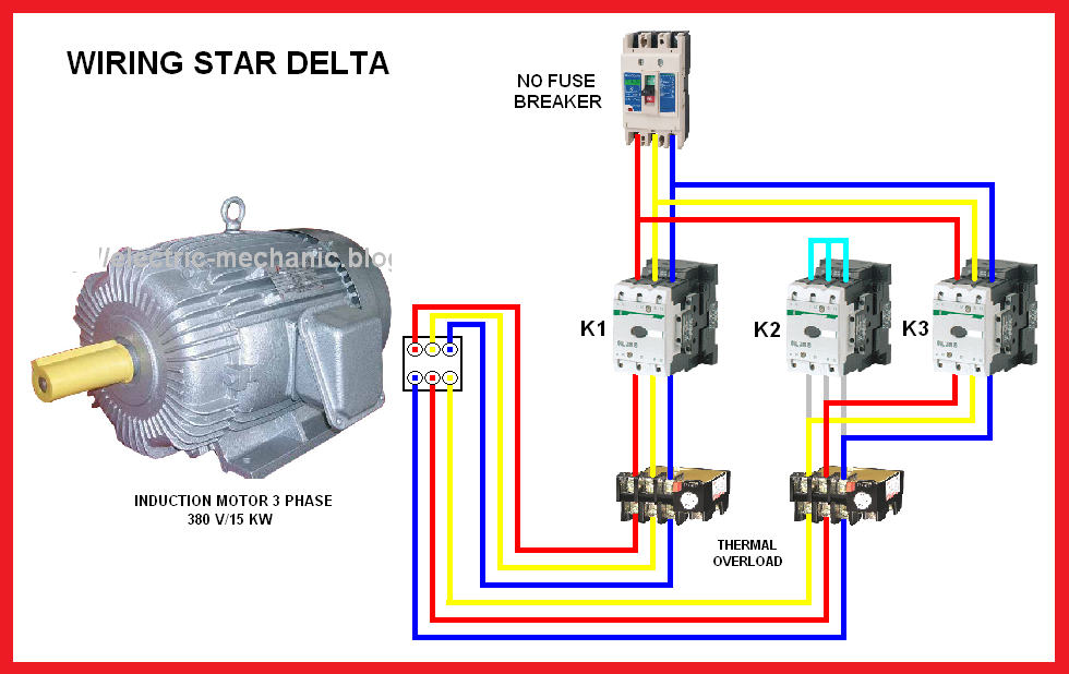 Star Delta Motor Connection Diagram on 4 pole breaker with 3 phase