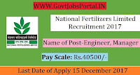 National Fertilizers Limited Recruitment 2017– 65 Engineer, Manager