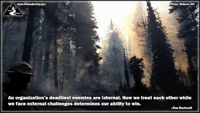 An organization's deadliest enemies are internal. How we treat each other while we face external challenges determines our ability to win. –Dan Rockwell (Wildland firefighter monitoring forest fire)