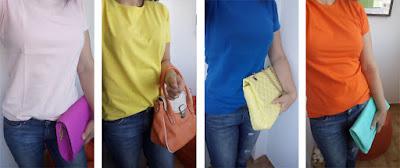 Jeans e t-shirt | t-shirt rosa claro + mala rosa forte | t-shirt amarela + mala laranja | t-shirt azul + mala amarela | t-shirt laranja + mala verde