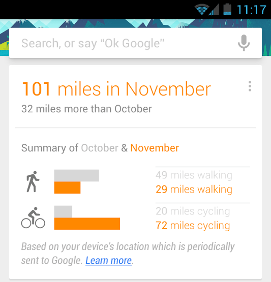 Google Now Walk Bike Miles