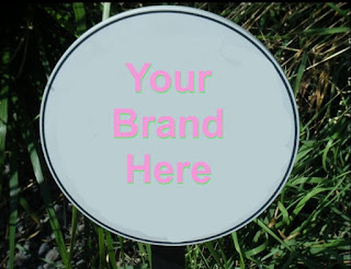 "Sign with a ""Your Brand Here"" message"