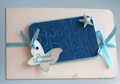 Invitatii botez handmade personalizate Sweet baby bleu