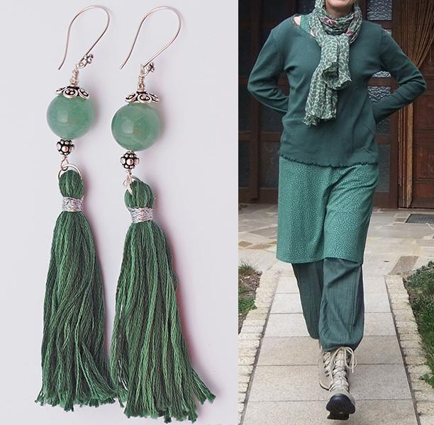 orecchini verdi con giada e nappa