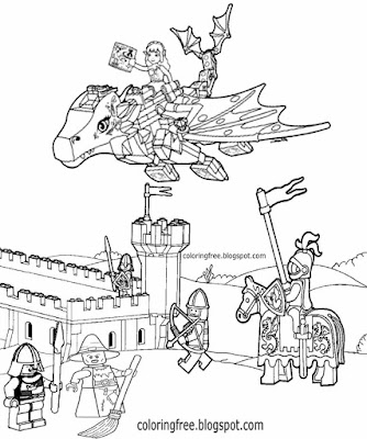 Simple clipart old castle English knights medieval coloring ideas dragon Lego drawing for children