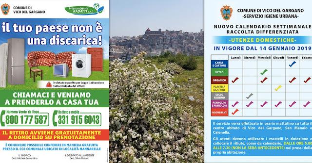 A Vico del Gargano, rifiuti, dal 14 gennaio potenziato il nuovo porta a porta