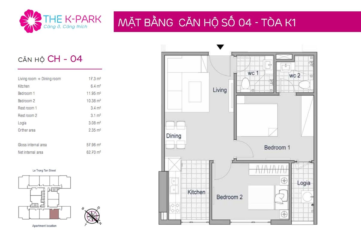 Mặt bằng căn hộ số 04- Tòa K1