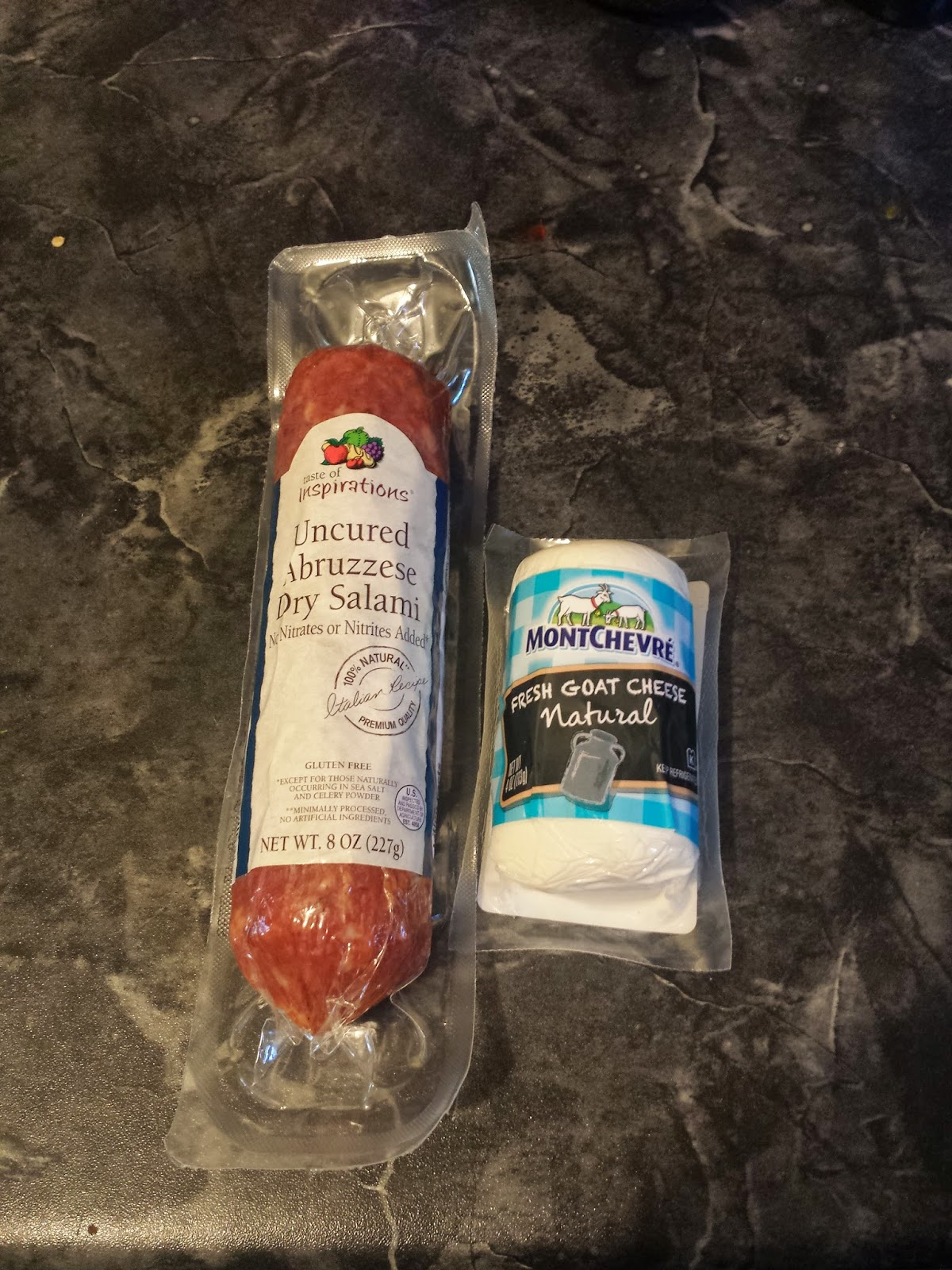salami and goat cheese low-carb appetizer ingredients