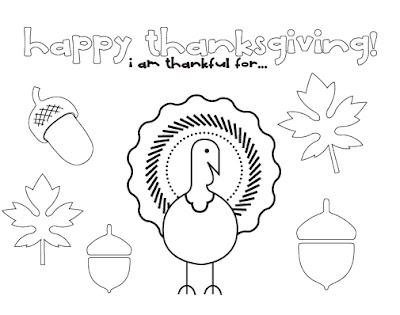 Thanksgiving Place Mat Page Coloring Pages