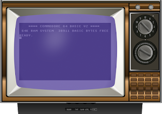 Vintage Television with Vintage PC Screen and Text