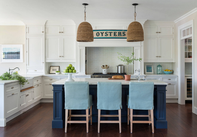 white kitchen cabinets navy island coastal white kitchen with navy blue island 28856