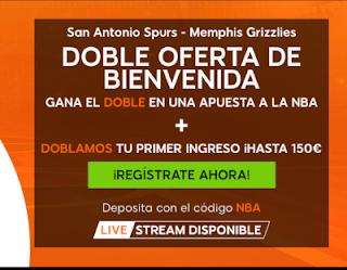 888sport doble bono bienvenida nba Spurs vs Grizzlies 22 noviembre