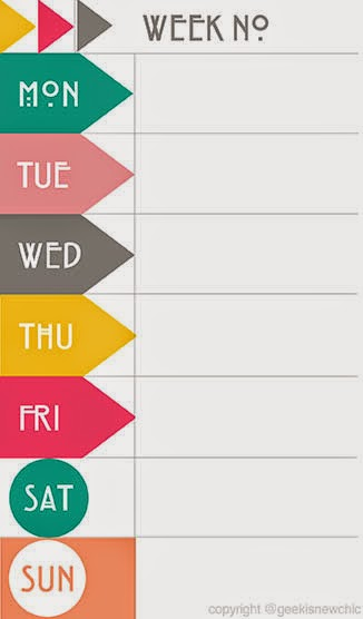 Weekly diary planner printable for Evernote daily planner template