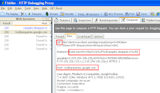 Google Page Ranking Request in Fiddler
