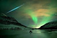 Aurora and Geminid Meteor over Kvaløya