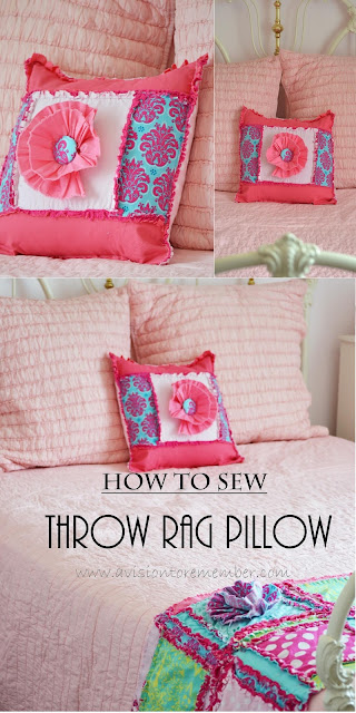 How to sew a rag quilt throw pillow sham