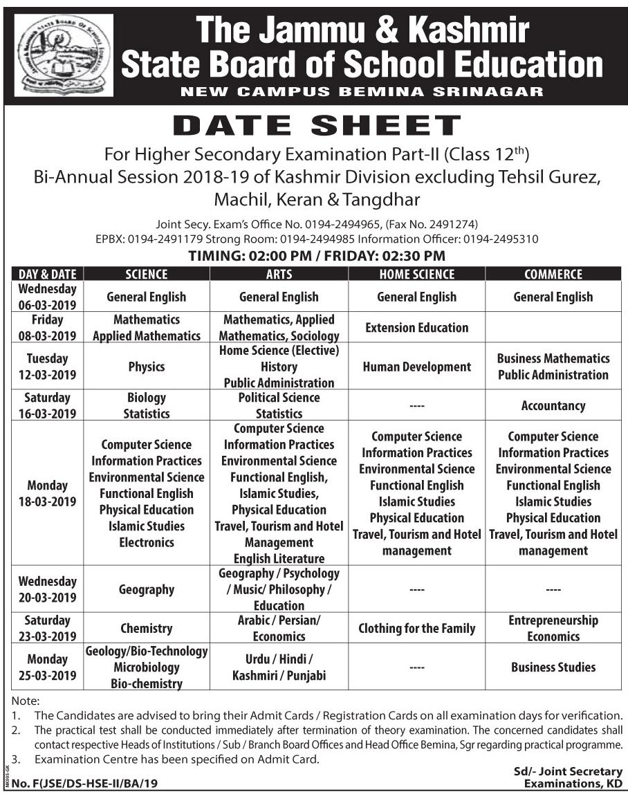 DATE SHEET For Higher Secondary Examination Part-II (Class 12th) Bi-Annual Session 2018-19 of Kashmir Division - JKBOSE