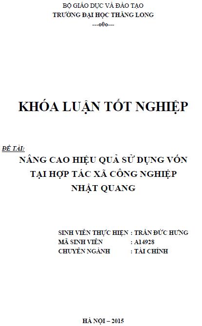 Nâng cao hiệu quả sử dụng vốn tại hợp tác xã công nghiệp Nhật Quang
