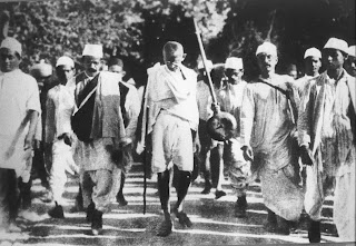 Mahatma Gandhi along with others on Dandi March