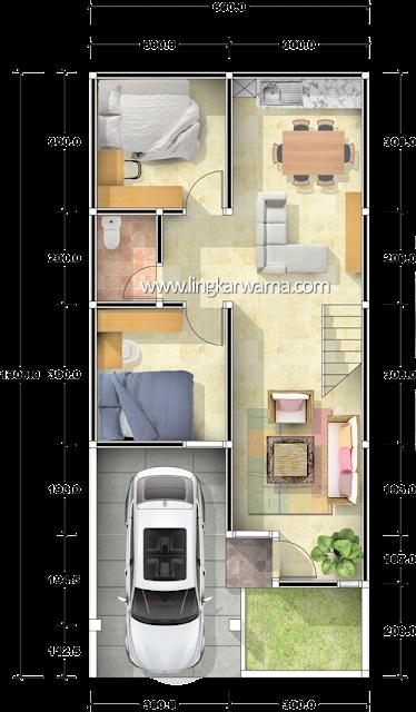 denah rumah minimalis ukuran 6x13 meter 5 kamar tidur 2 lantai