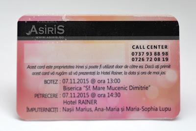 Verso Invitatii botez fetita tip card bancar roz cu detalii eveniment