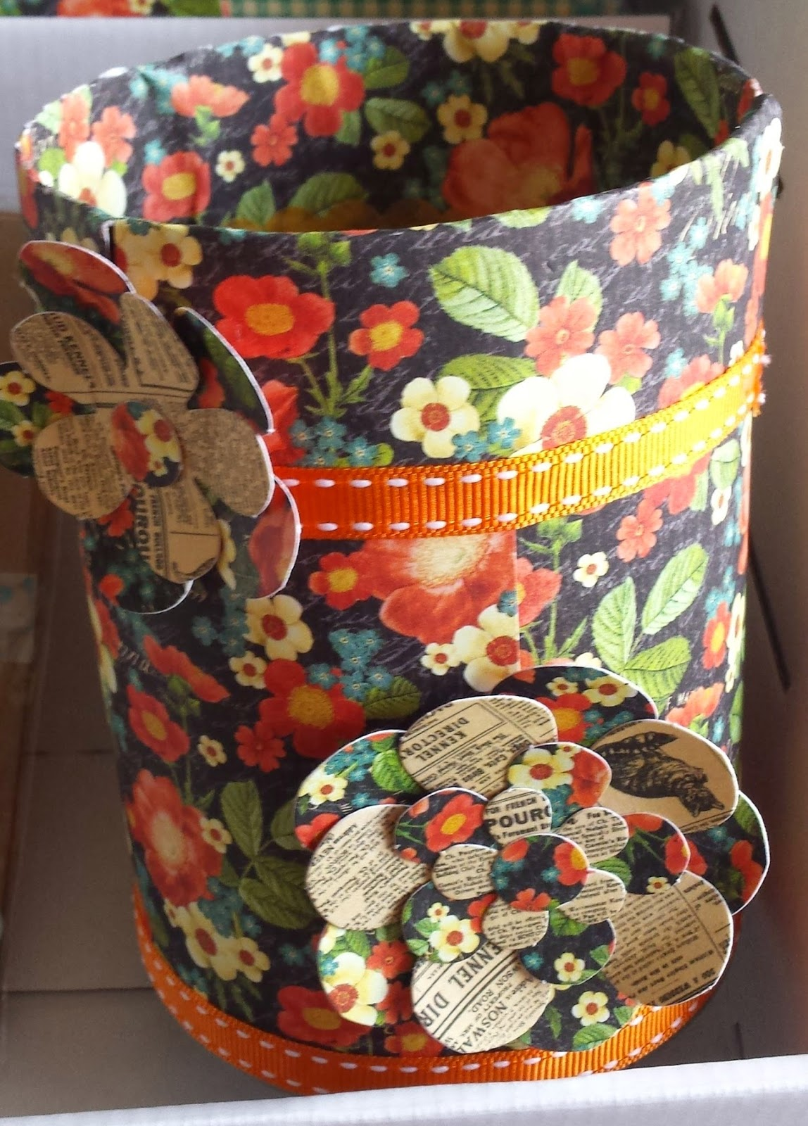 Pencil holder covered with Raining Cats n Dogs paper from Graphic 45