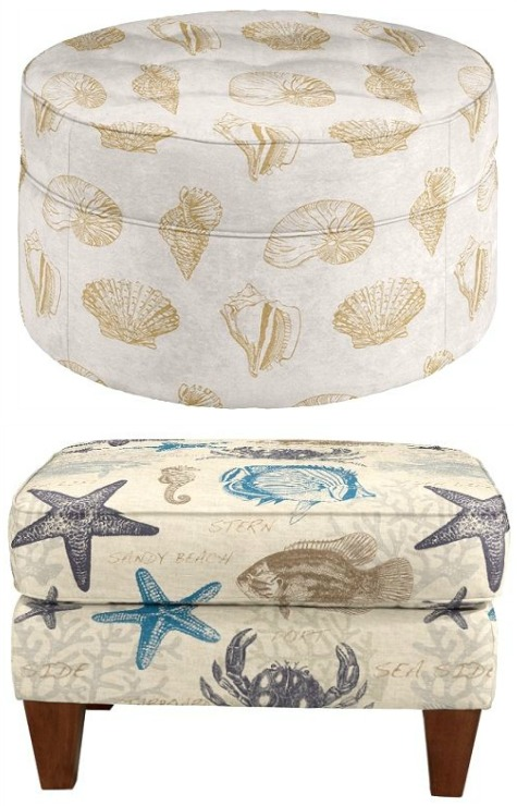 Novelty Coastal Fabric Ottomans from Lazboy