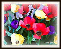 Watercolor of spring tulips