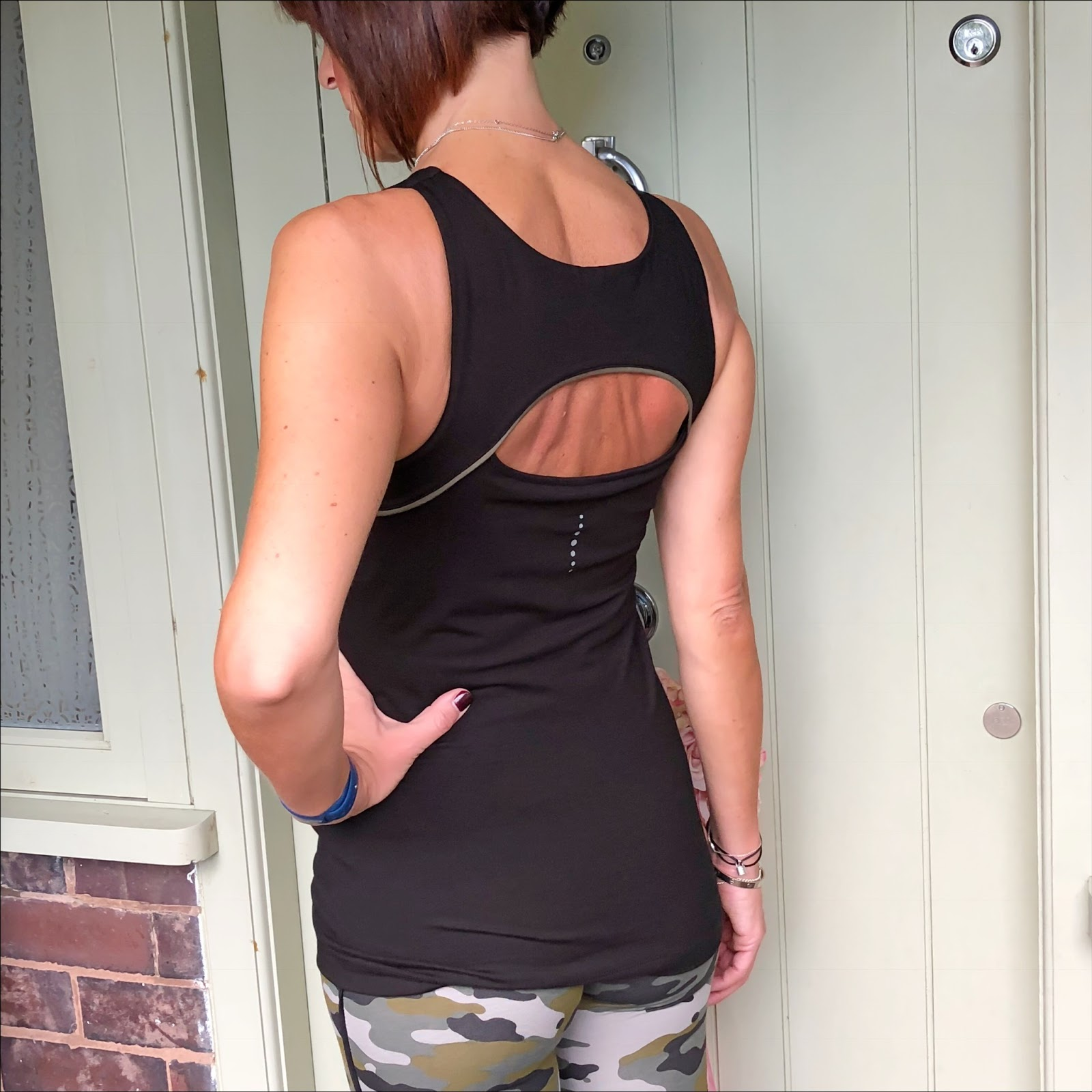 my midlife fashion, asquith london, activewear, asquith london good vibes top, asquith london camouflage flow with it leggings