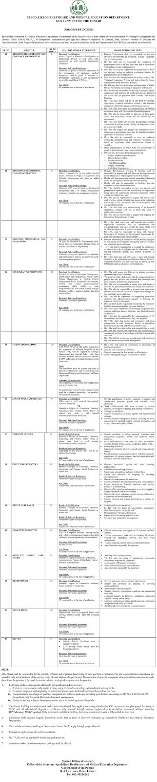 Jobs In Specialized Healthcare and Medical Education Department Lahore 2018 for 70 Posts