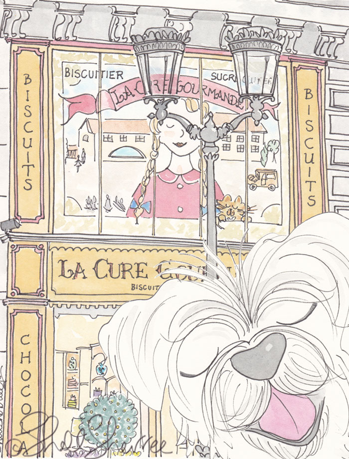 Paris Cure Gourmande illustration with white dog pet portrait photobomb © Shell Sherree