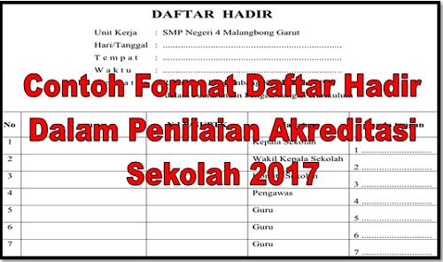 Contoh Format Daftar Hadir Dalam Penilaian Akreditasi Sekolah 2017