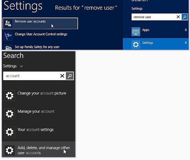 """Windows 8, écran de démarrage, recherche de paramètres. Pour supprimer un compte d'utilisateur, entrez """"supprimer l'utilisateur"""" dans la zone de recherche. Ensuite, cliquez sur """"Supprimer les comptes utilisateur""""."""