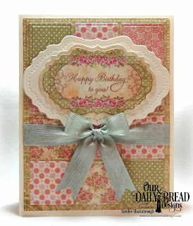 Our Daily Bread Designs Paper Collection: Blushing Rose, Custom Dies: Quilted Window Squares, Vintage Labels, Vintage Flourish Pattern