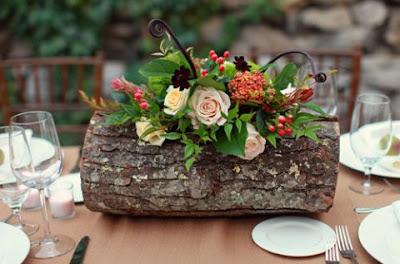 decoration table rondin bois mariage rustique