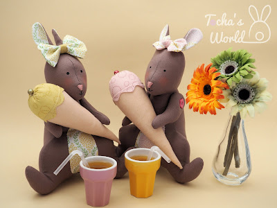 rabbits, bunnies, tilda, stuffed toy, cotton, Lewis & Irene, spring, easter, first day of spring, ice cream cone,