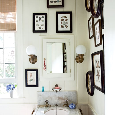 gallery wall powder room