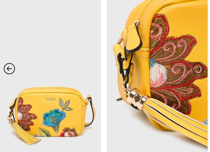 Nobo - Poseta galbena cu model cu flori frumoasa la reducere