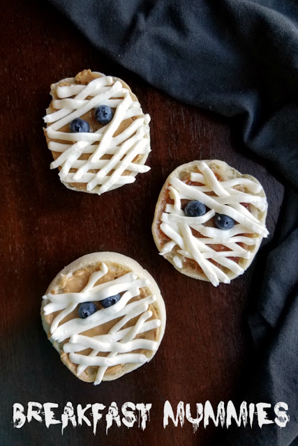 These super simple English muffin mummies are a perfect way to start Halloween. Just a couple of minutes and a few ingredients is all it takes to get the day off on an undead foot!