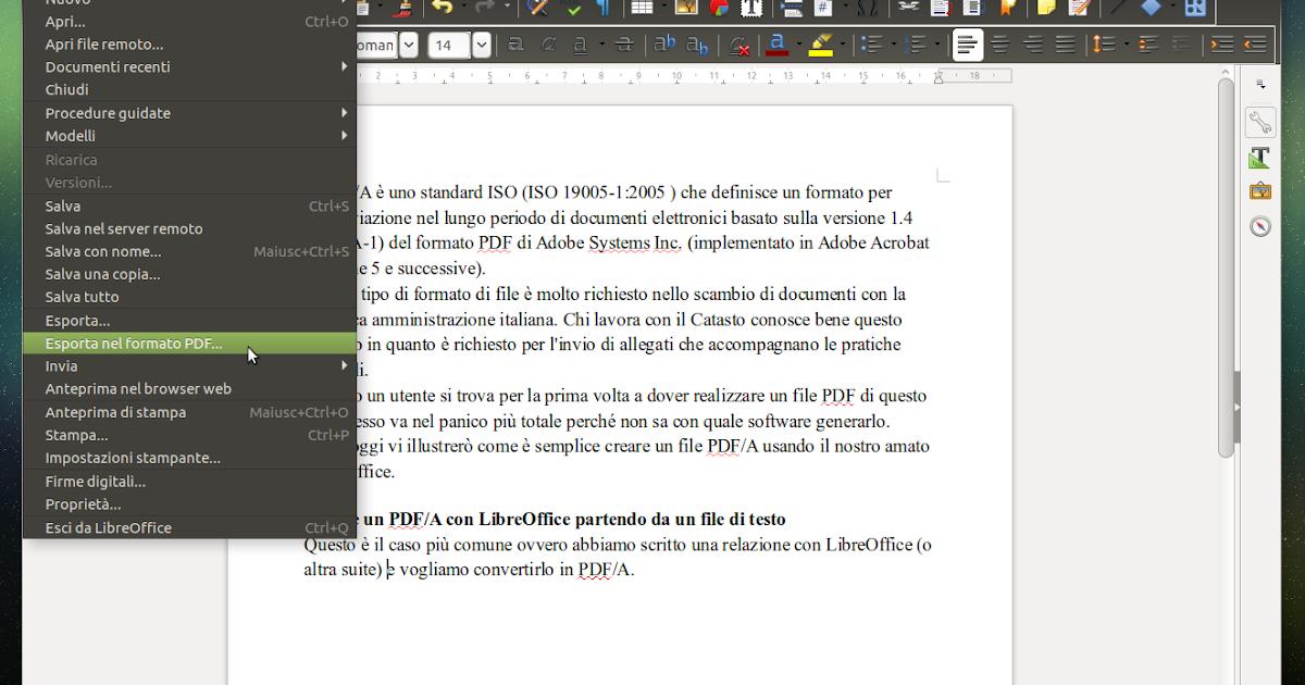 Creare PDF/A o convertire PDF in PDF/A con LibreOffice