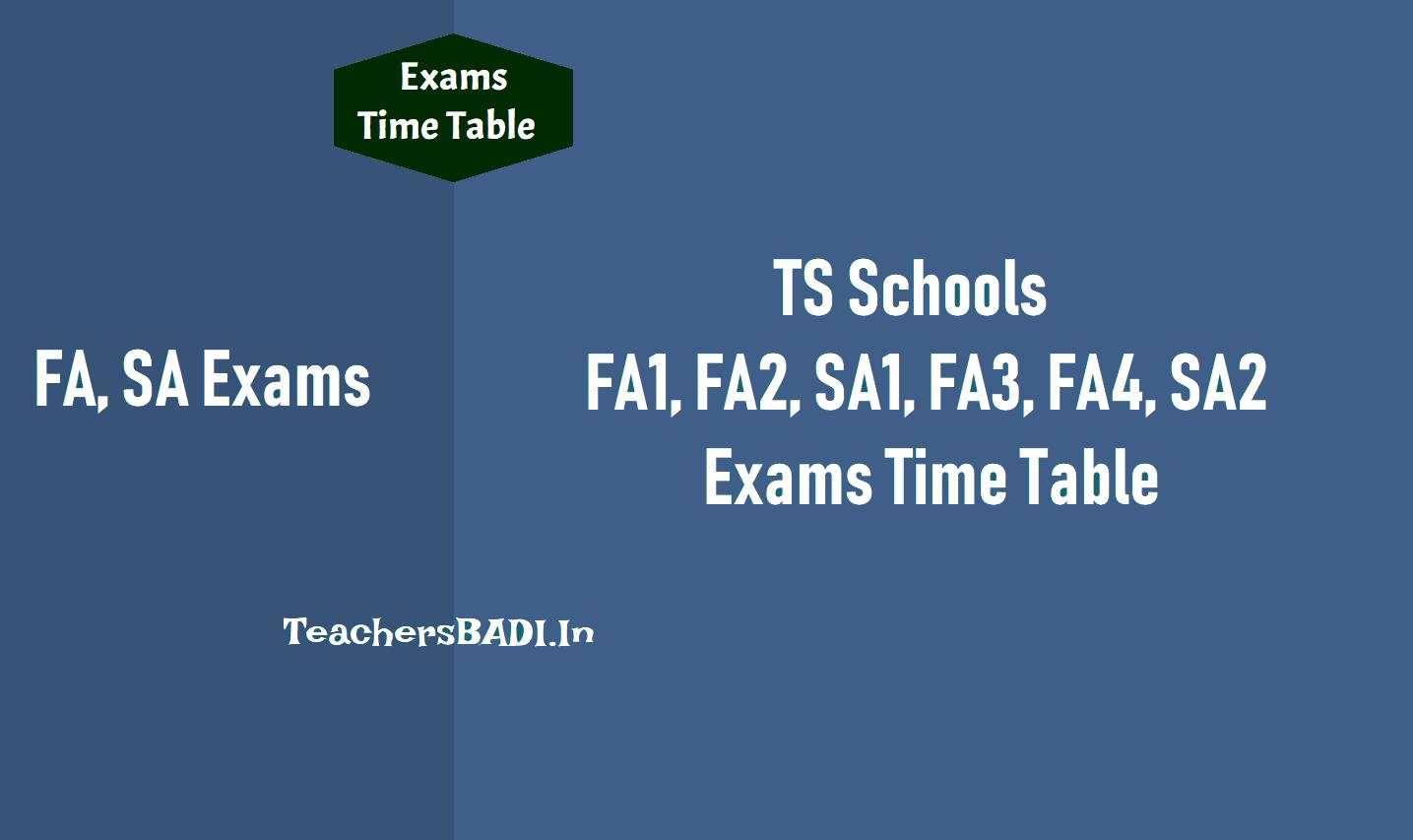FA1,FA2,SA1,FA3,FA4,SA2 Exams Time Table 2019 -2020 for TS Schools