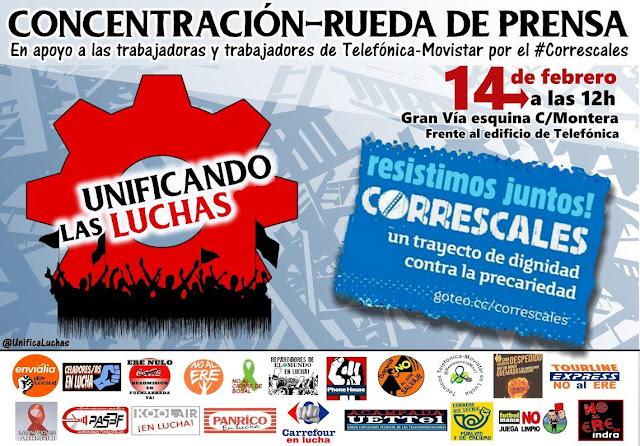 [Madrid] Concentración apoyo trabajadorxs Telefónica #Correscales
