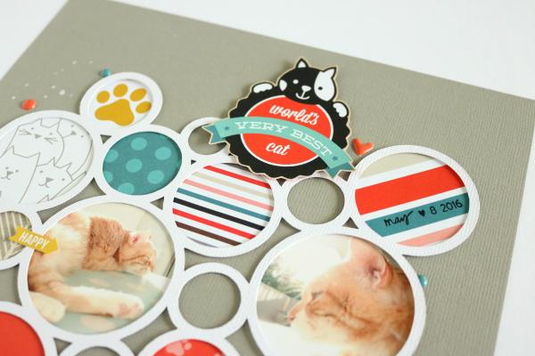 Miau | Scrapbooking Layout | Vier Kollektionen - Vier Katzenlayouts
