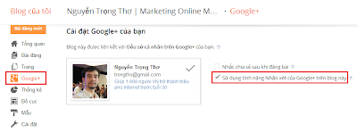 Cách thêm Google plus comment Blogger