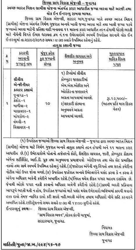 Jilla Gram Vikas Agency Junagadh Recruitment 2017 for 10 Civil Engineer Posts