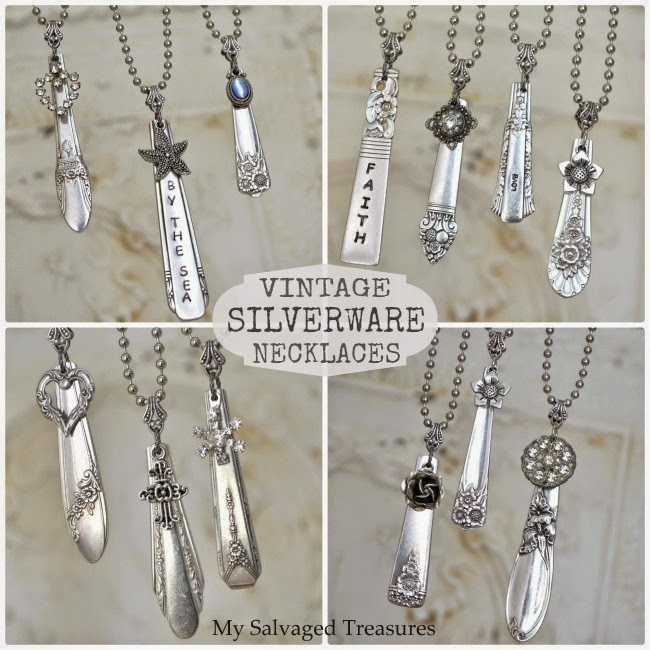 repurposed vintage silverware necklaces stamped embellished necklaces