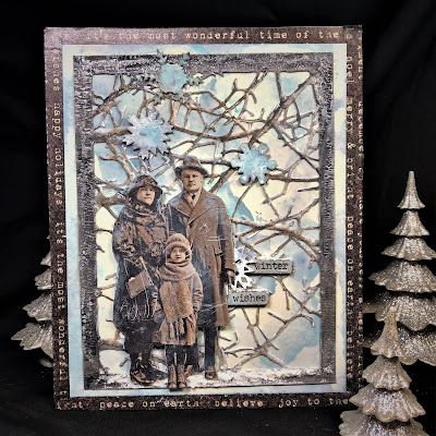 Sara Emily Barker https://sarascloset1.blogspot.com/2018/10/wishful-thinking-winter-card.html Wishful Thinking Winter Card with Tim Holtz Sizzix Alterations Ideaolgy Ranger Products 1