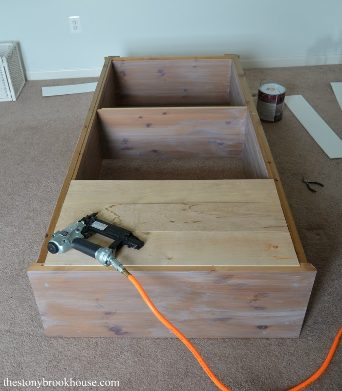 Attaching shiplap boards to bookcase