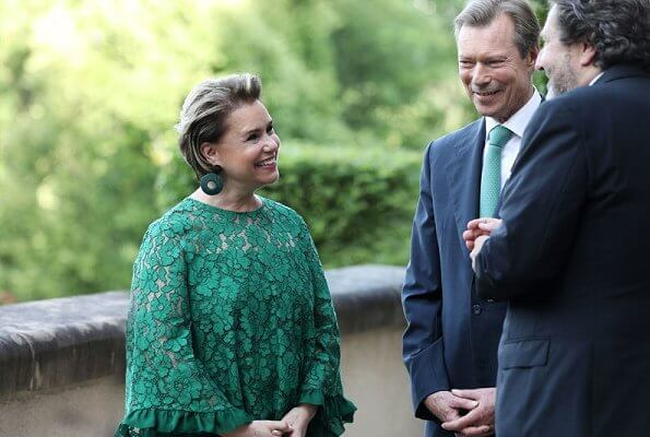 Grand Duchess Maria Teresa wore a green lace top and a green wide-leg lace trouser by Carolina Herrera. Carolina Herrera Evase lace top